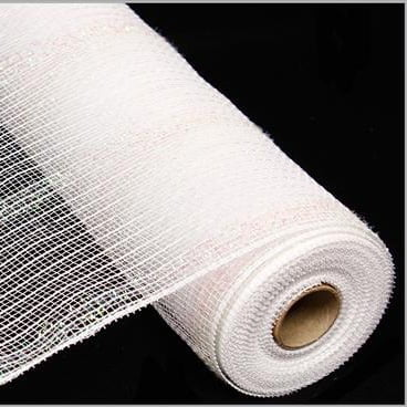 "10.5"" Tinsel Foil Deco Poly Mesh White"