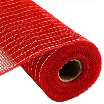 "10"" Red Gold Matte Wide Foil Deco Poly Mesh"