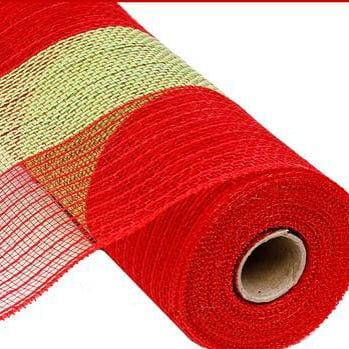 "21"" Poly Faux Jute Wide Stripe Mesh Red Lime Green"