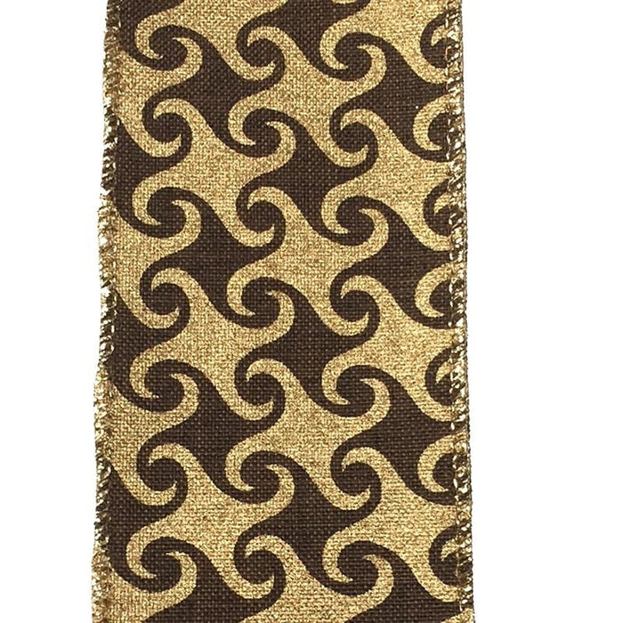 "2.5"" Chocolate Red Canvas Gold Swirl Ribbon"