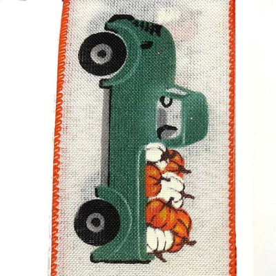 "2.5"" Teal Truck Orange White Pumpkin Ribbon X815340-33"