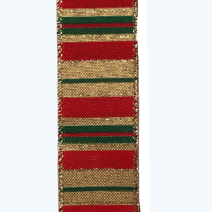 "1.5"" Green Gold Red Varied Horizontal Stripes Ribbon"