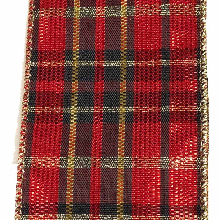 "2.5"" Red Black Gold Plaid Christmas Ribbon"