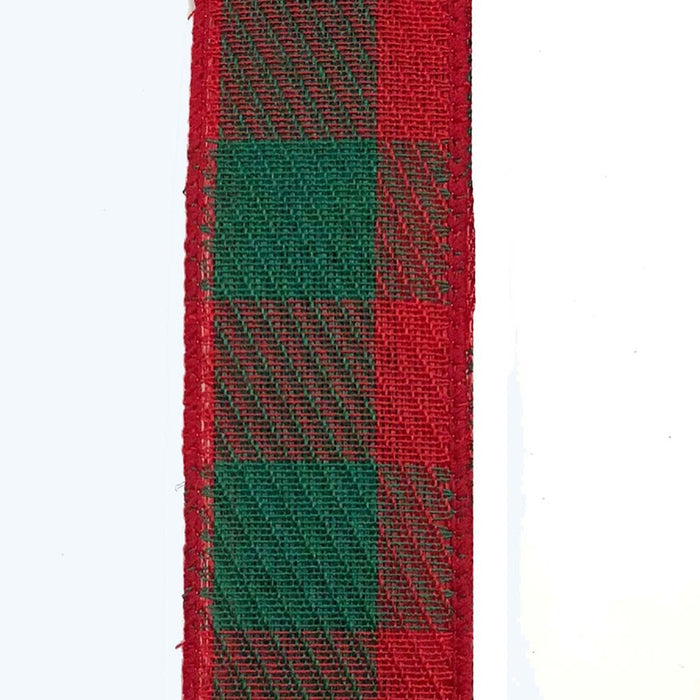 "1.5"" Red Green Large Gingham Check Ribbon"
