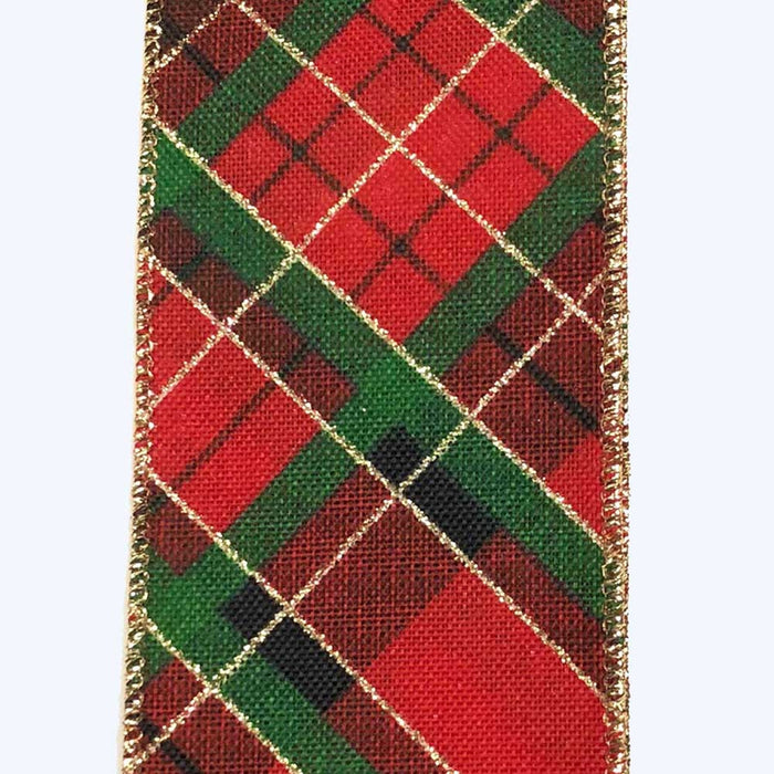 "2.5"" Green Black Red Gold Printed Plaid Ribbon"