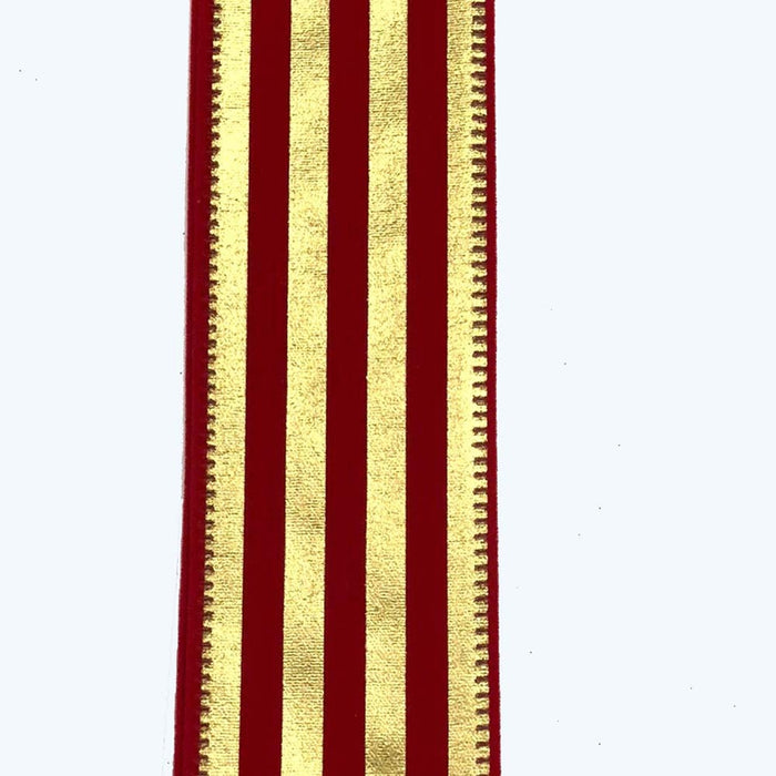 "1.5"" Red Velvet Gold Vertical Stripe Ribbon"