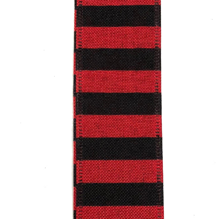 "1.5"" Red Linen Black Horizontal Stripe Ribbon X844509-13"