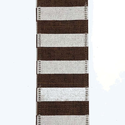 "1.5"" Brown Linen White Horizontal Stripe Ribbon X844509-38"