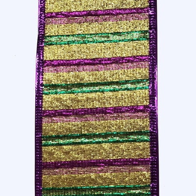 "2.5"" Gold Purple Emerald Woven Metallic Stripe Ribbon X846340-11"