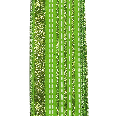 "1.5"" Lime Green Satin Glitter Lines White Dash Ribbon"
