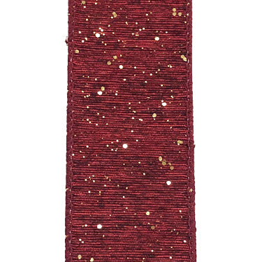 "1.5"" Burgundy Shiny Woven Linen Gold Glitter Ribbon"