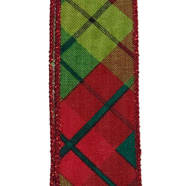 "1.5"" Red Lime Emerald Sally Print Plaid Ribbon X930009-17"