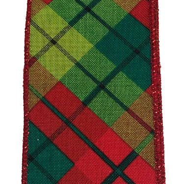 "2.5"" Red Lime Emerald Sally Print Plaid Ribbon"
