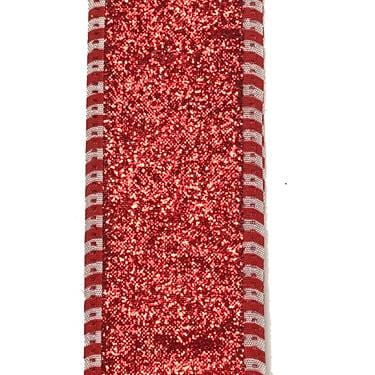 "1.5"" Red Glitter Red White Dashed Edge Ribbon"