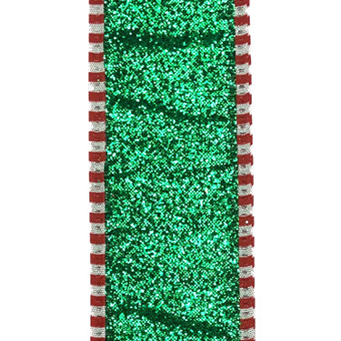 "1.5"" Emerald Glitter Red White Dashed Edge Ribbon"