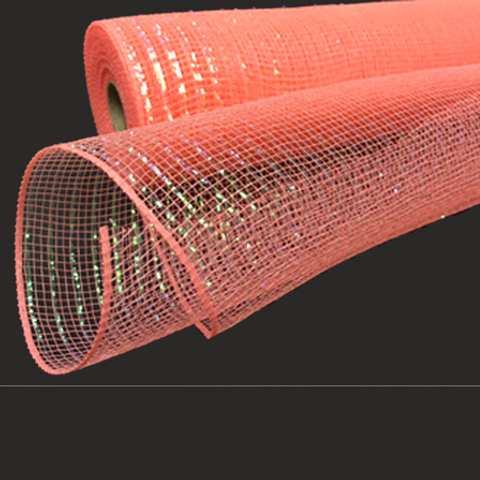 "10"" Coral Iridescent Metallic Foil Poly Mesh XB90510-46"