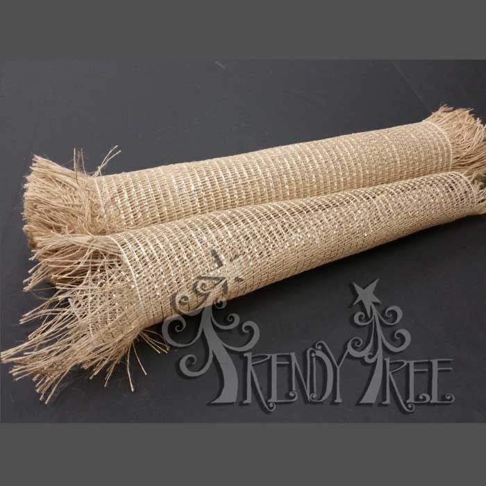 "21"" Natural Metallic Frayed Burlap Mesh"