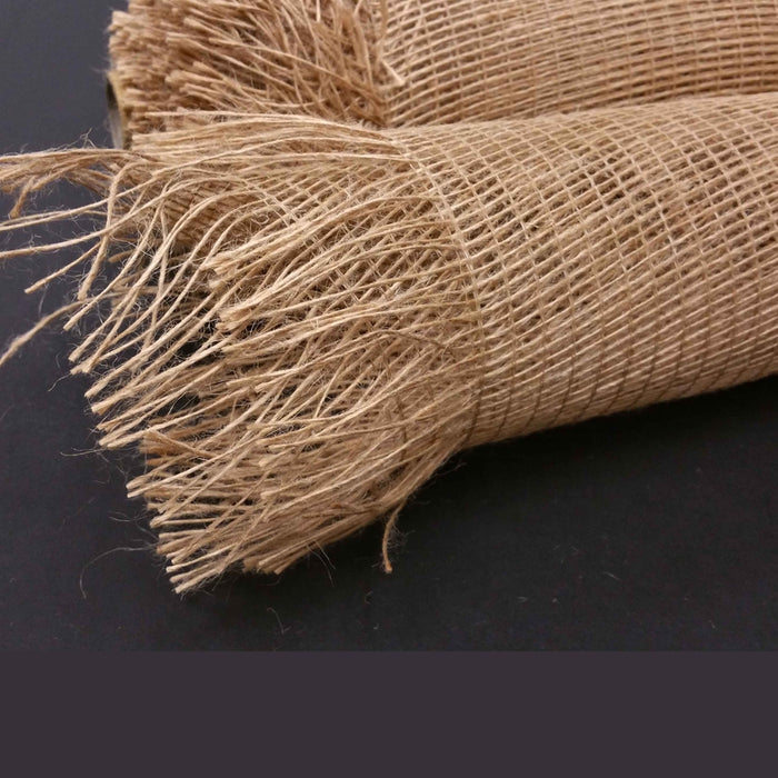 "21"" Dark Natural Frayed Burlap Mesh"