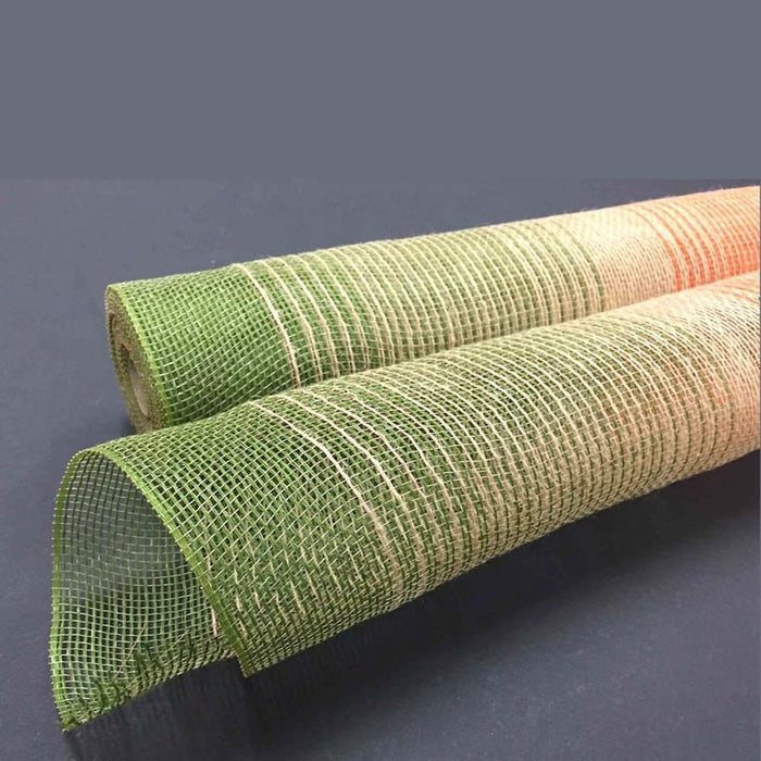 "10"" Orange Natural Moss Jute Ombre Mesh Roll"