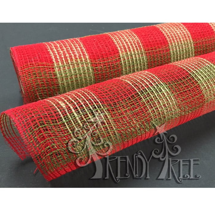 "21"" Moss Green Natural Red Plaid Fabric Mesh"