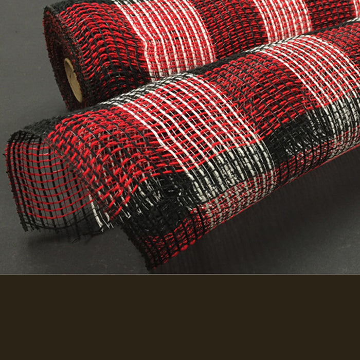 "21"" Red Black White Plaid Fabric Mesh"