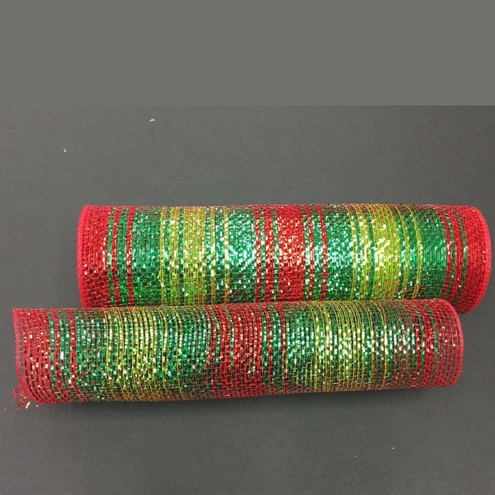 "10"" Emerald Lime Red Blended Metallic Mesh"