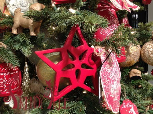"7.75"" Red Wood Star Christmas Ornament"
