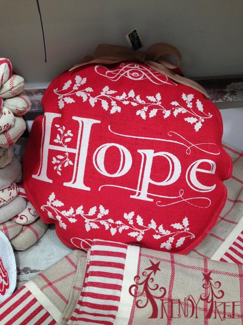 "16"" Padded Burlap Ornament Hope Print"