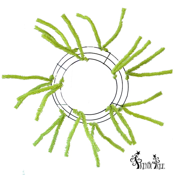"10"" Pencil Wreath Lime Green"