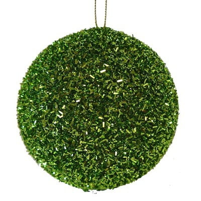 "4"" Lime Green Cut Foil Glitter Ball Christmas Ornament"