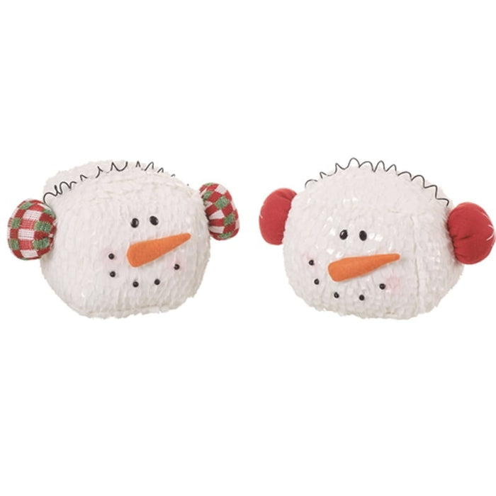 Plush Snowman Head with Ear Muffs Assorted
