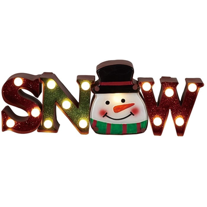 Metal & Glass Lighted SNOW Sign