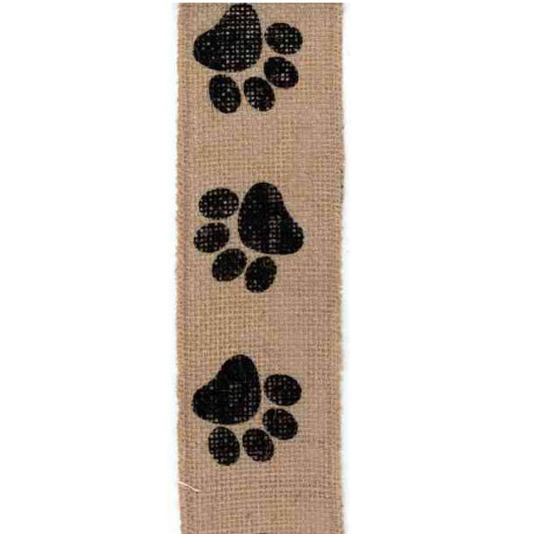 "2.5"" Natural Black Paw Print Ribbon ds09-2514"