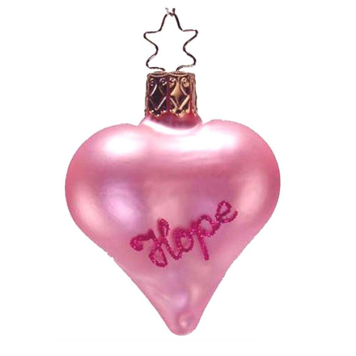 Pink Hope Heart Inge-Glas Christmas Ornament 1-218-06
