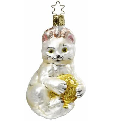 Keke's Yarnball White Cat Christmas Ornament Inge-Glas of Germany 1-016-10