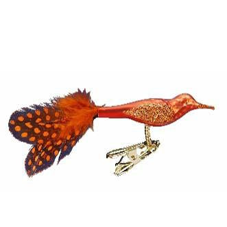 Jeweled Tunes Orange Bird Ornament Inge-Glas 1-068-11