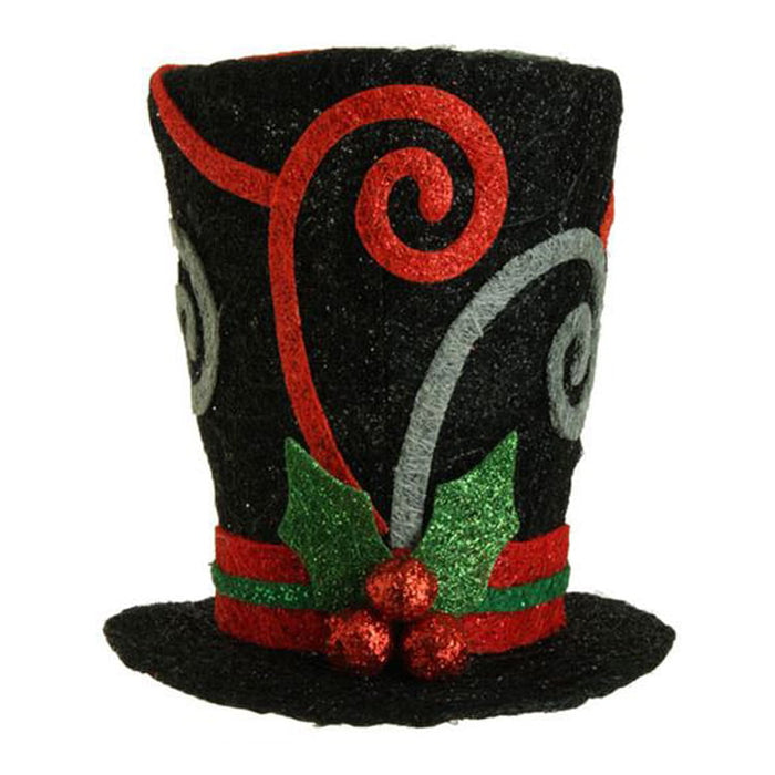RAZ Black Swirl Top Hat Holiday on Ice Collection Christmas Decoration