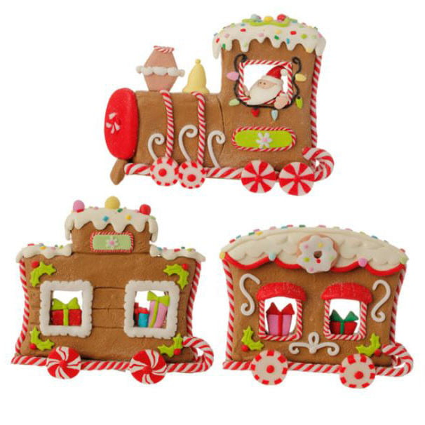 "RAZ 5"" Claydough Gingerbread Train 3 Pieces"