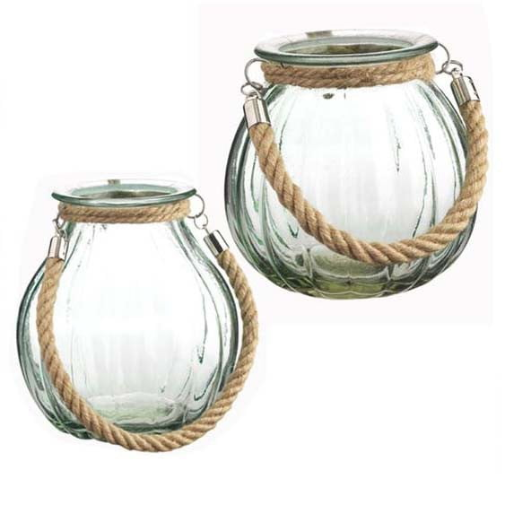 RAZ Green Glass Lantern with Rope Handle Set of 2