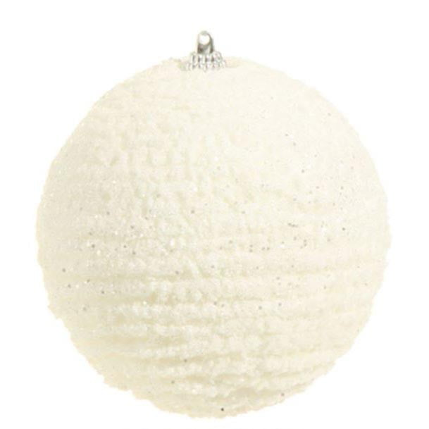 "RAZ 4"" White Glittered Wool Ball Ornament"