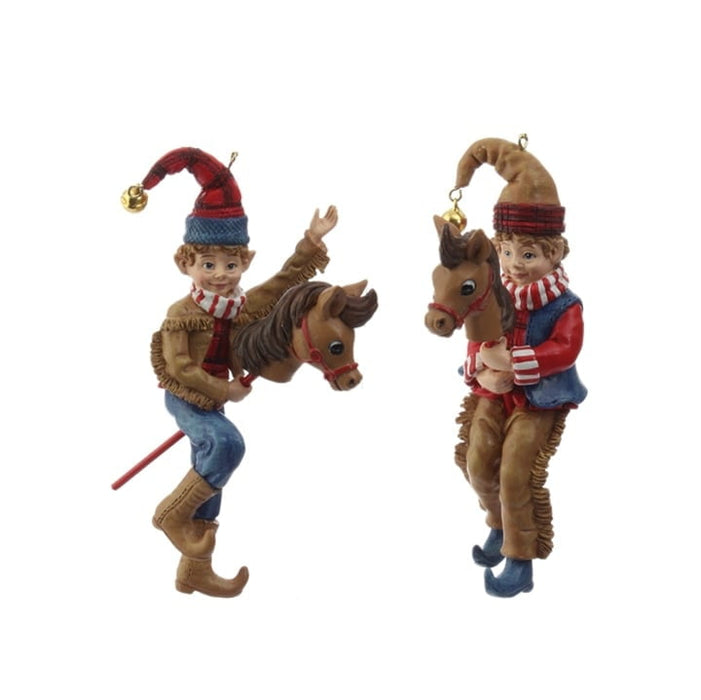 "RAZ 5"" Cowboy Elf on Stick Horse Ornament Set of 2"