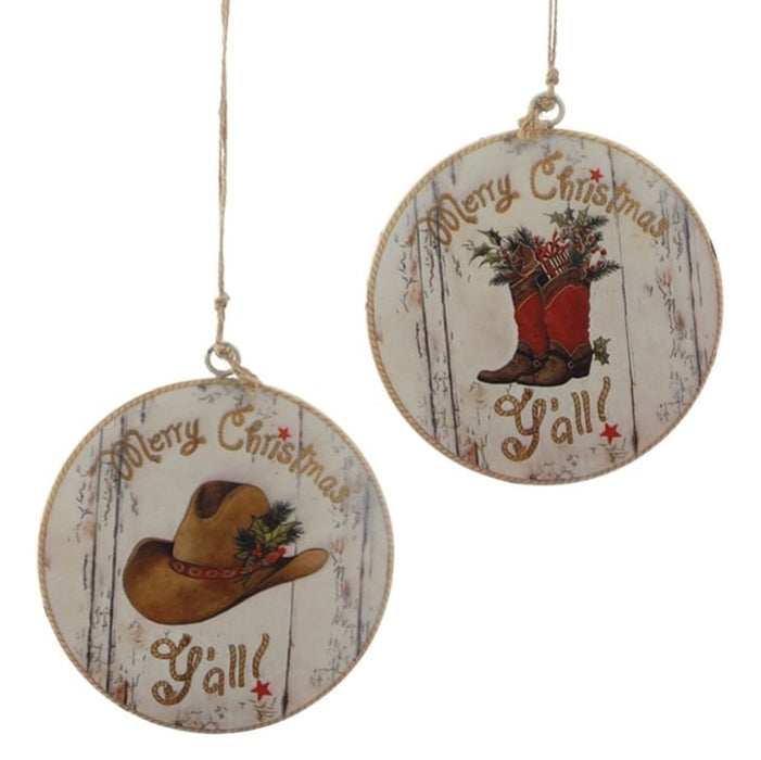 RAZ Merry Christmas Y'all Cowboy Hat Boots Ornament Set of 2