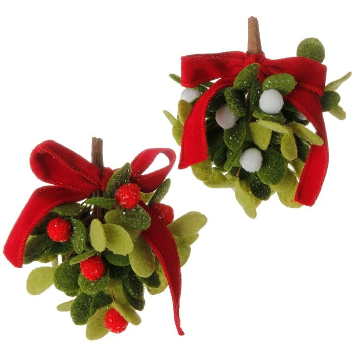 "RAZ 6"" Mistletoe Ball Ornament Set of 2"