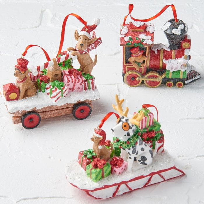 RAZ Resin Dog Christmas Ornament Set of 3