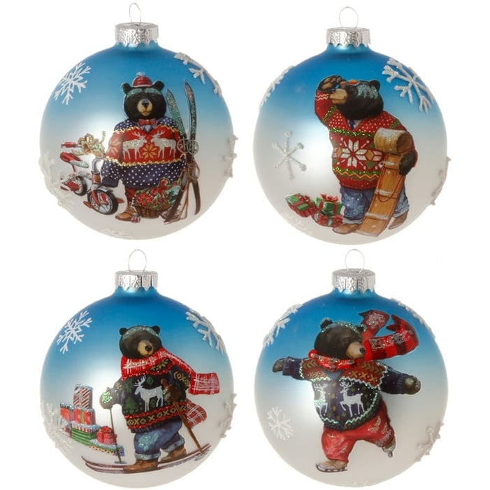 "RAZ 5"" Bear in Sweater Ornament Set of 4"