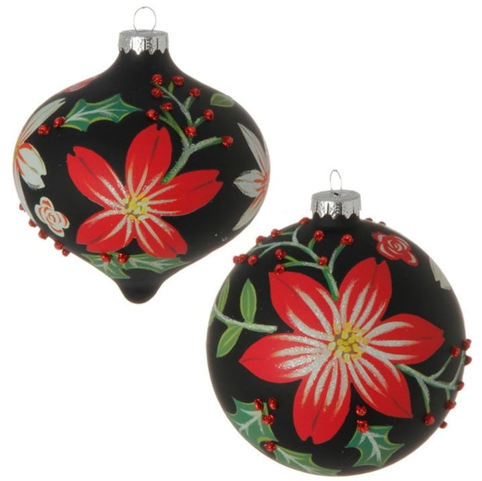 "RAZ 5"" Floral Ball Ornament Set of 2"