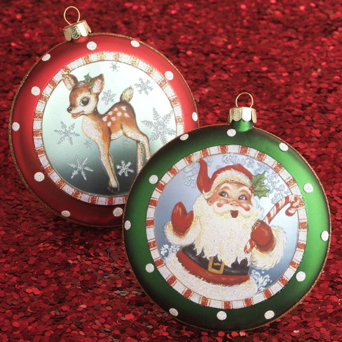 "RAZ 4"" Santa and Reindeer Ornament Set of 2"