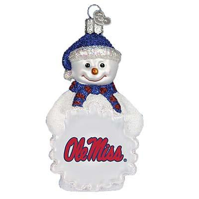 University of MS Ole Miss Snowman 64005 Old World Christmas Ornament