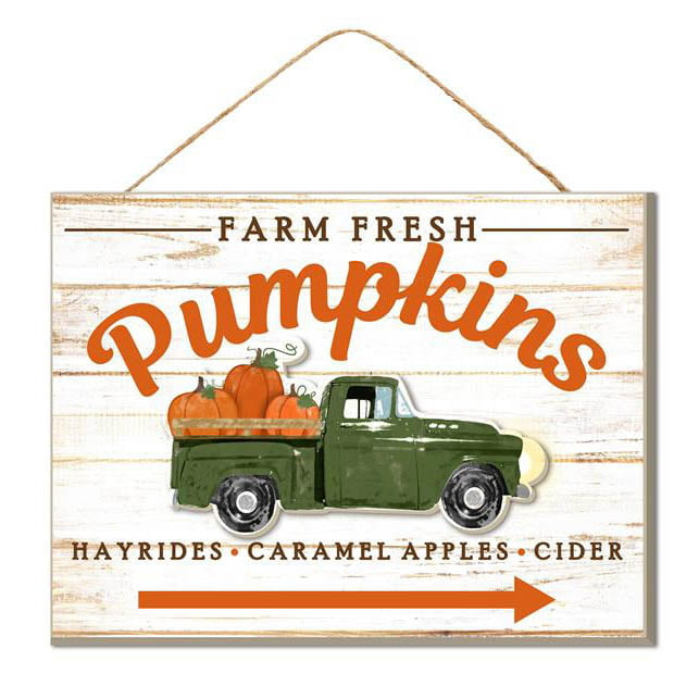 "15"" Green Truck Farm Fresh Pumpkins Sign AP8225"