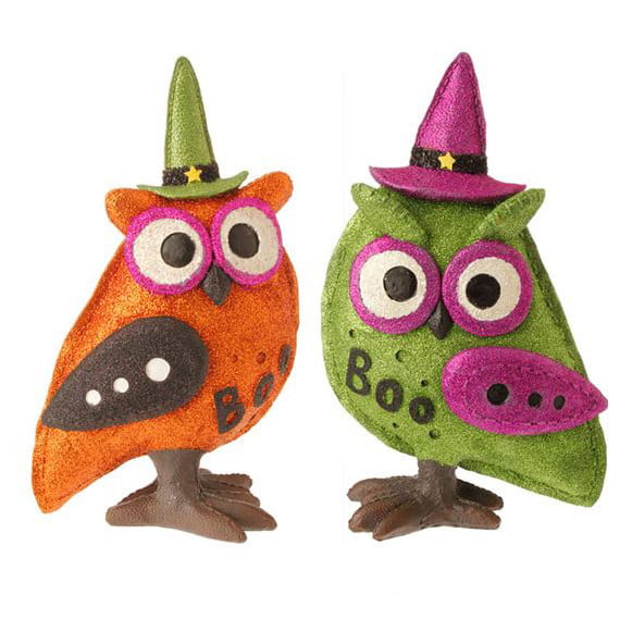 "RAZ 12"" Boo Owl Halloween Decoration Set of 2"